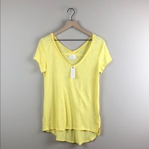 NWT Anthropologie t. la Yellow V-Neck T-Shirt (XS)